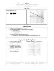 4.2 Day 1 and 2(Linear equations and intercepts and standard form) note-taking guide.docx