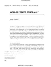 Well informed ignorance
