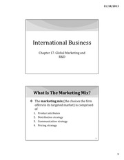IB Chapter 17 - Global Marketing and RD