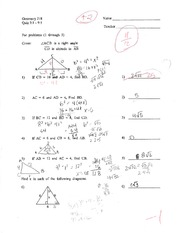 Geometry 218 - Quiz 9.1-9.5 with Answers