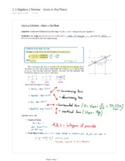 1.1 Algebra 2 Review - Lines in the Plane