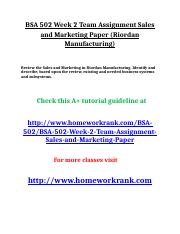 BSA 502 Week 2 Team Assignment Sales and Marketing Paper (Riordan Manufacturing).doc