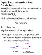 5. Structure and Preparation of Alkenes
