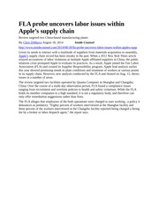 FLA probe uncovers labor issues within Apple