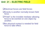 Physics 21 -Electric Field