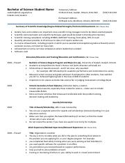 Resume example - Science 2