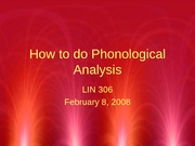 Phonology II-Analysis