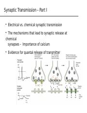 Lecture 10 Synaptic transmission part 1