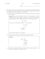 Lab 2 Solution Summer 2014 on Differential Equations and Linear Algebra
