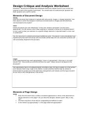 ENC 3211 Lakindra Malone Design Critique and Analysis Worksheet Answers