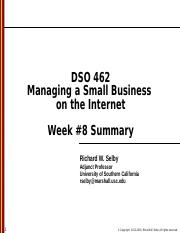 DSO 462 - Class session 8 - Summary