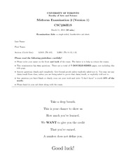 M-2013 Past Midterm 1 for Intro Theory Computer Science - CSC236