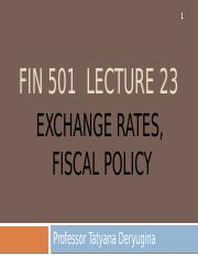 Lecture 23 - Exchange rates, fiscal policy(1).pptx