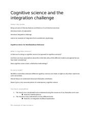 4- Cognitive Science and the integration Challenge.docx