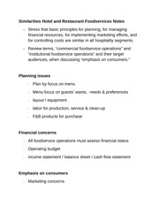 Similarities Hotel and Restaurant Foodservices Notes