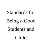 Standards for Being a Good Students and Child.doc