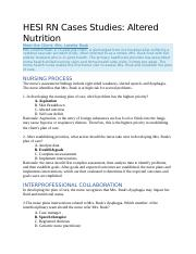 Altered Nutrition