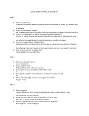 Study guide for Bio Lab practical 1