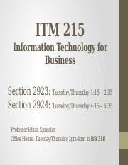 ITM 215 - Lecture 7 - Cyber security & Risks