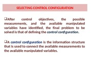 SELECTING CONTROL CONFIGURATION S