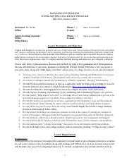 SCHOLARS PRE-COLLEGIATE PROGRAMS JUNIOR SYLLABUS FALL 2013.doc