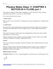 Physics Notes Class 11 CHAPTER 4 MOTION IN A PLANE part 1 .pdf