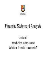 Financial Statement Analaysis Lecture 1 (JB)
