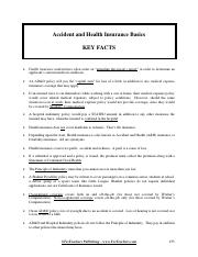 documentaccident and health insurance key facts