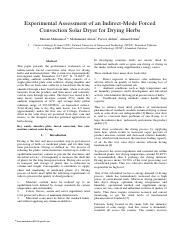 Experimental Assessment of an Indirect-Mode Forced Convection Solar Dryer for Drying Herbs