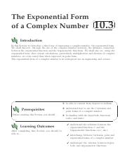Complex Numbers - Exponential  Form