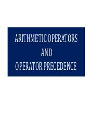 Arithmetic Operations and Precedence