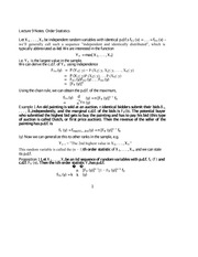 Lecture 9 Notes Order Statistics