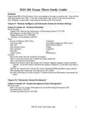 MIS 301 - MIS 301 Exam 3 Study Guide - Spring 2010 - Patton