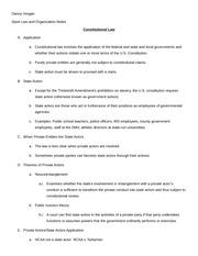 Sport Law and Organization Constitutional Law Notes