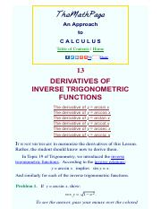 Derivatives of inverse trigonometric functions - An approach to calculus