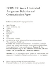 BCOM 230 Week 1 Individual Assignment Behavior and Communication Paper