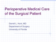 Medical care of the surgical patient