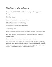The Start of War in Europe