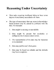 Reasoning Under Certainty notes