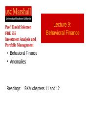 Lecture_09_BehavioralFinanceAnomalies_555.ppt