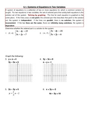 6.1-6.3 Systems of Equations