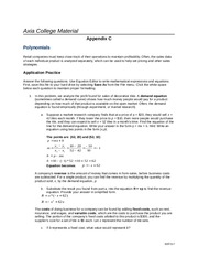 JD MAT 117 Week 2 Assignment Simplifying and Factoring Polynomials Appendix C