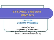 ENT 161 CIRCUITS THEOREMS