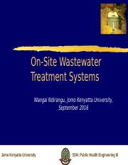 Lecture 1 2016 On-Site Waste Treatment
