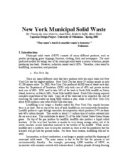 NEW YORK MUNICIPAL SOLID WASTE-SUMMARY