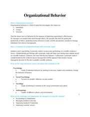 Organizational Behavior Definitions