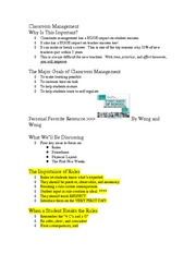 Classroom Management Notes