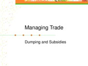 Managing Trade - Dumping and Subsidies