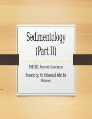 3) Sedimentology part II