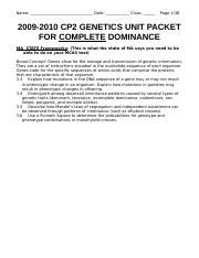 CP2 Genetics Complete Dominance UNIT Packet 2010
